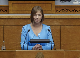 This is the woman who has just been elected the first female president of Estonia.