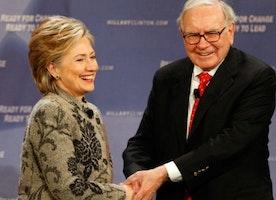 Warren Buffett will bet you that Hillary Clinton wins in 2016