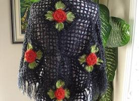 Feminine Sparkle Shimmering Crochet Triangle Wedding Bridal Shawl Women Accessory / Black & Ivory to choose