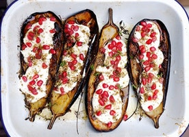 Unrecipe of the Week: Eggplant With Buttermilk Sauce + Pomegranate Seeds
