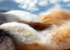 Thirty million tons of silt and water rocket out of Yellow River dam