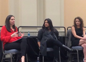 """MOGUL Brain Trust Members Reshma Saujani, Founder of Girls Who Code, and Debbie Sterling, Founder of GoldieBlox, Speaking About """"STEMming the Bro Culture"""" at the Forbes 30 Under 30 Summit"""
