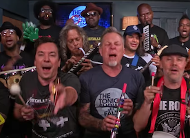 "Jimmy Fallon, The Roots & Metallica Bang out ""Enter Sandman"" on Toy Instruments"