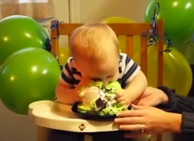 This Baby Tastes Cake for the First Time, Then Suddenly Dives In Head First!