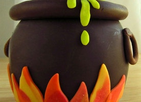 Chocolate Caramel Apple Cauldron decorated with modeling chocolate