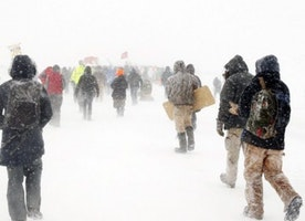 Global Warming Protesters Met With Bitter Cold, Snow