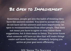 Be Open to Improvement