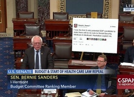 Bernie Just Printed a Gigantic Trump Tweet and Brought It to the Senate Floor