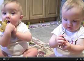 Twins mimic Daddy's Sneeze