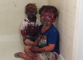 VIRAL VIDEO: Watch These Two Guilty Toddlers Covered in Facepaint Get a Talking To. So ADORABLE.