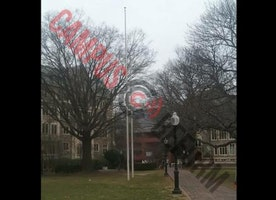 Georgetown flag pole empty on Inauguration Day