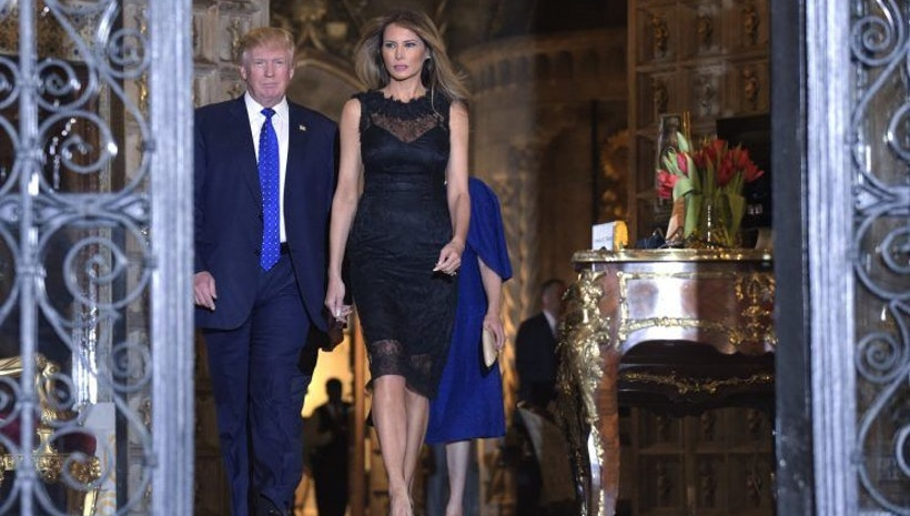 Melania Trump Wears Backless Black Dress for Saturday Night Dinner