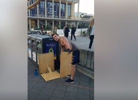 Anti-conservative student destroys Berkeley College Republicans' sign