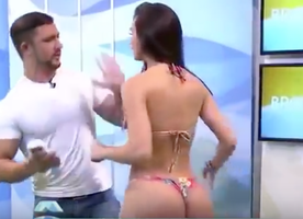 WATCH: Super Creepy TV Host Gropes a Bikini Model On-Air. She Punches Him in the Face Like a Legend.