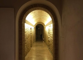 Looking down the hall of an old convent