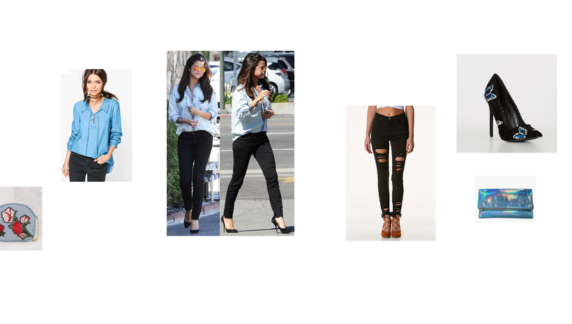 Selena Gomez Chambray Denim Outfit- Shop Affordable Alternatives