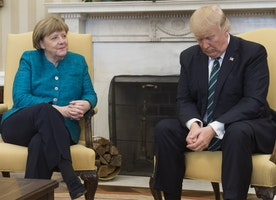 Trump doesn't shake hands with Merkel during photo op