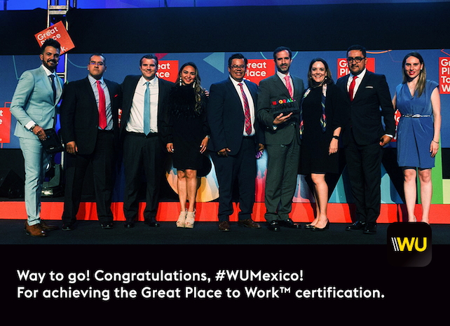 Western Union Mexico gets the 3-Peat for the Great Place to Work™ certification!