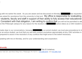 CMU banned a girl because her rapist felt uncomfortable. This needs to end.