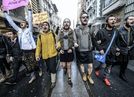 Turkish Men Protesting in Miniskirts for Women's Rights After Young Woman's Death