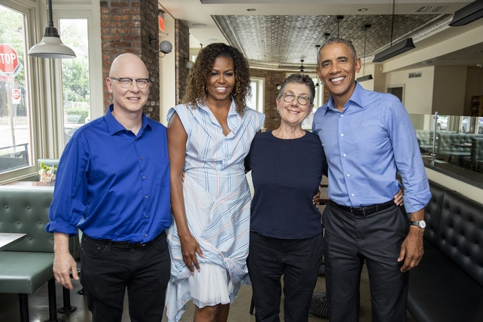 """President and Mrs. Obama Join Directors Julia Reichert and Steven Bognar for  """"A Conversation about American Factory"""""""