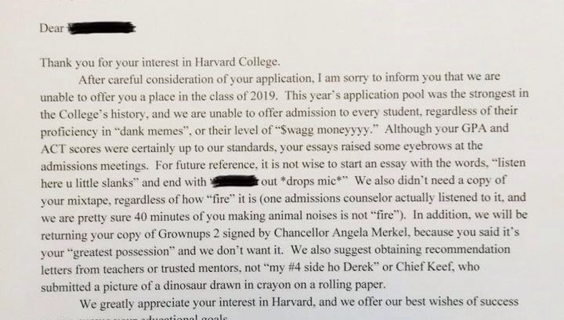 harvard college rejection letter has just broken the internet