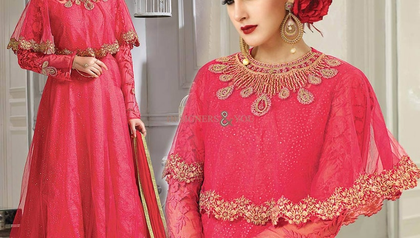 Irresistible Pink Embroidered Silk Cape Style Anarkali Suit For Girls