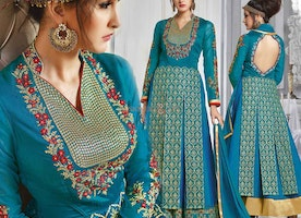 Stunning Blue Embroidered Silk Long Anarkali For Women