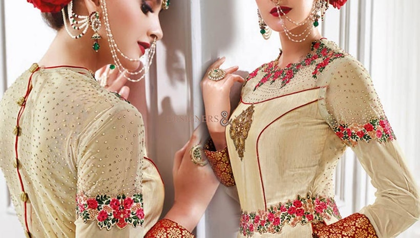 Smashing Beige Embroidered Silk Lehenga Dress For Lovely Ladies