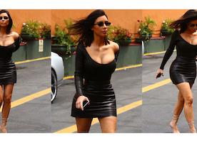 Kim Kardashian's Black Leather Look For Less
