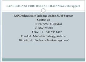 SAP SAP Design studio objects AND cristal report online training and JOB support by Experts