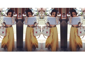 Copy Vanessa Hudgens Nautical Stripes And Wide-Legged Pants For The Perfect Casual Spring Outfit